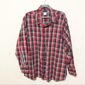 Wrangler Plaid Pearl Snap Button Up Long Sleeve 3x